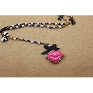 Betsey Johnson Pink Lips Necklace