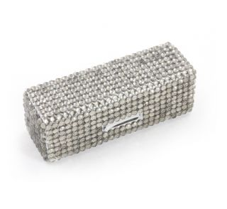 Grey Crystal Lipstick Case Box w Mirror Travel Holder Purse Makeup