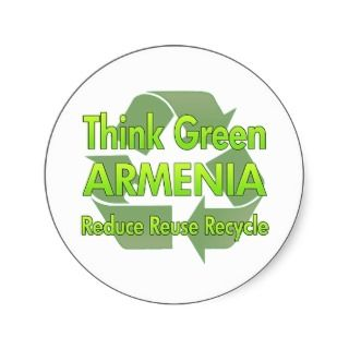 Think Green Armenia Round Stickers