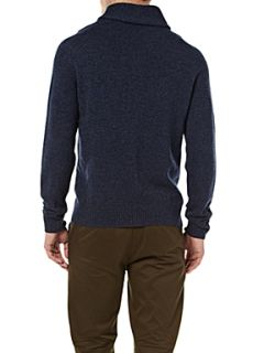 Fred Perry Tweed style shawl neck jumper Blue