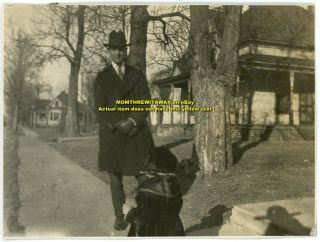 C1920 Photo Man Hat Coat Little Girl Fur Collar Houses Trees Joplin