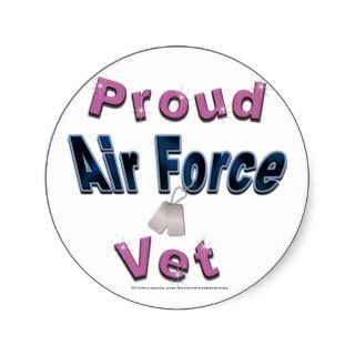 Proud Air Force Vet in Pink Stickers