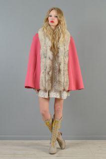 Lilli Ann Vtg 60s Arctic Fox Fur Swing Drape Mod Silver Dress Coat
