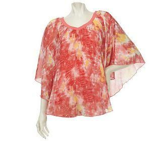 Lisa Rinna KNIT top shirt TIE DYE layered SHEER FLUTTER *SOLD OUT ON