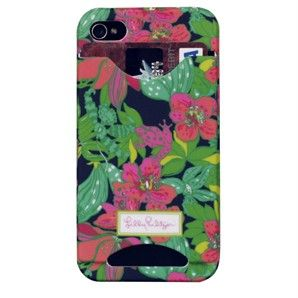 Lilly Pulitzer iPhone Case Cover 4 4S with Credit Card I D Slots Skip