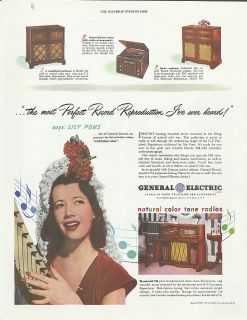 Lily Pons for General Electric Radios Ad 1947