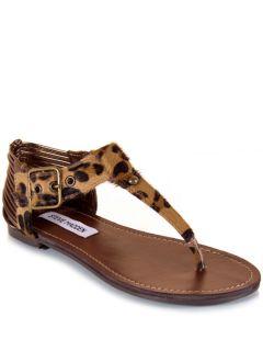 New Steve Madden Serenitl Women T Strap Animal Sandal Flat Shoe Brown