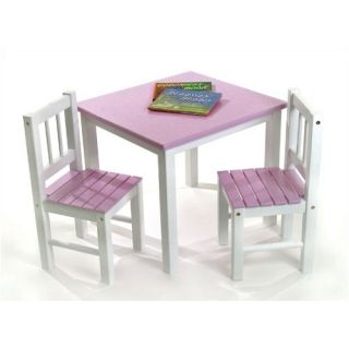 Lipper International Kids Table and Chair Set in Pink and White 513pk