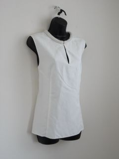 New 3 1 Phillip Lim Offwhite Cotton Silk Beaded Neck Sleeveless Blouse