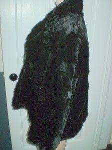 Vtg Black Real Fur Swing Cape Jacket Sz M L Mortons Wash DC Retro Mod