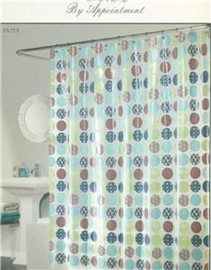 Shower Curtain Dots Lime Green Aqua Brown Navy on White Opaque Eva
