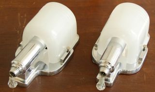 PR Vintage Art Deco Chrome Milk Glass Slip Shade Wall Sconces Machine