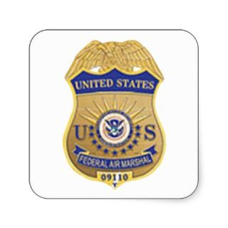 US FEDERAL AIR MARSHALL BADGE SQUARE STICKERS