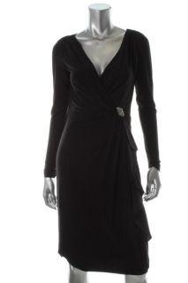 New on The Town Black Matte Jersey Little Black Dress 4 BHFO