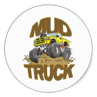 Mud Truck Dodge Round Stickers