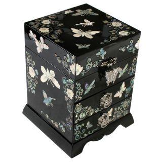 Wood Girls Drawer Lacquer Butterfly Jewelry Keepsake Trinket Box Case