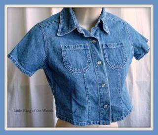 American Girl Girls Clothing Blue Denim Shirt Top Small