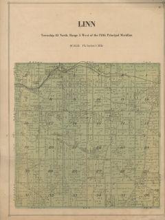 Linn Township Plat Map Linn County Iowa 1921 Showing Land Owners