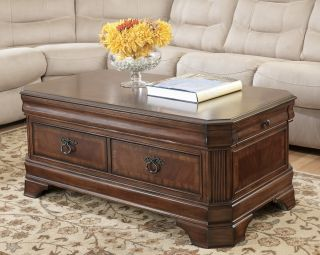 BROWN TRADITIONAL LIFT TOP COCKTAIL COFFEE TABLE LIVING ROOM FURNITURE