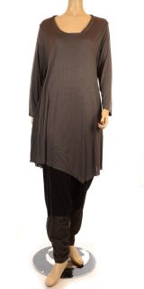 Lino Transitional Long Sleeve Lagenlook Tunic   Grey Completo Lino