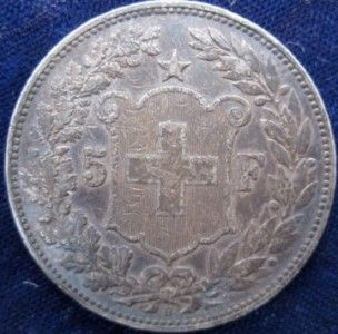 Switzerland 5 Franc 1907 VF