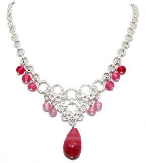 Liz Claiborne Semi Precious Pink Stone Drop Silver Teardrop Necklace