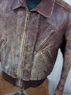 Vtg 50s Horsehide Leather Bomber Jacket..Montgomery Ward. Mens 40