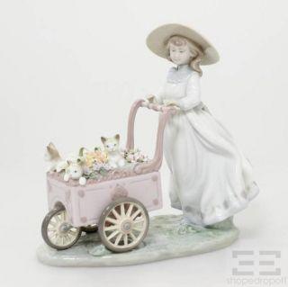 Lladro Porcelain Kitty Cart Figurine Retired 6141