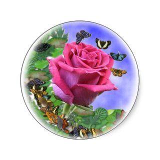 Pink Rose and Butterflies Round Stickers