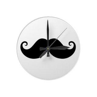 Funny black handlebar mustache trendy hipster wall clocks