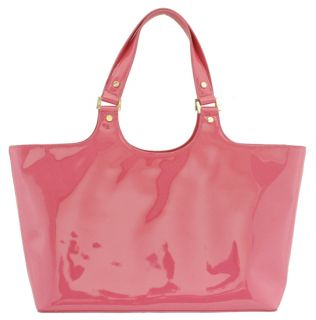 Tory Burch Lipstick Pink Patent Leather Perforated Logo Tote New