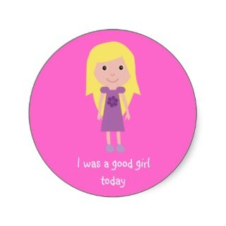 Cute Cartoon Character Good Girl Pink Stickers