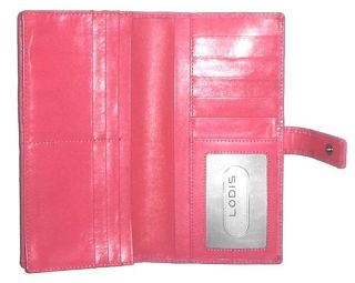 Lodis Large Clutch Gusset Embossed Pink Patent Leather Clutch Wallet