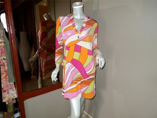 CHIC LISA HO MULTICOLOUR BOLD PRINT SHIFTED DRESS SIZE 8 GENTLY USED