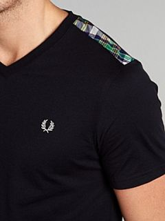 Fred Perry V neck T shirt with tartan trim Steel
