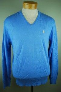 Mens Polo Ralph Lauren New Litchfield Blue Cotton Cashmere V Neck
