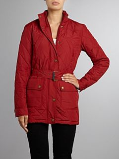 Lauren by Ralph Lauren Jess belted jacket with rib collar Red