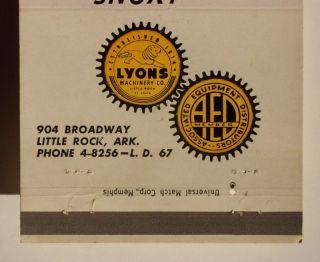 1950s Matchbook Lyons Machinery Co Little Rock AR MB