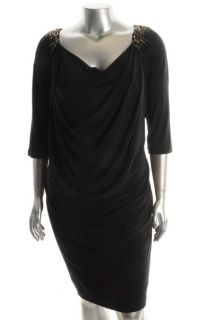 Jones New York New Black Sequin 3 4 Sleeves Cowl Little Black Dress
