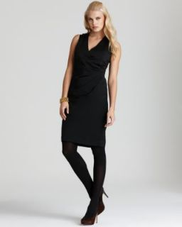 Jones New York New Black V Neck Ruched Faux Wrap Little Black Dress 14