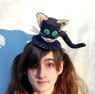 Cheshire Cat Mini Top Hat Goth Lolita Fascinator Wedding Mad Hatter