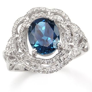 . Natural London Blue Topaz White GP 925 Sterling Silver Flower Ring