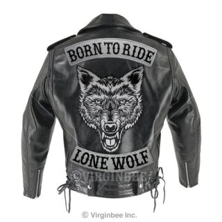 HUGE WOLF HEAD TATTOO REFLECTIVE LIGHT EMBROIDERED PATCH BIKER JACKET
