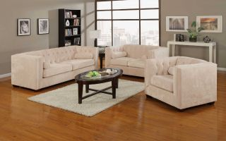 Transitional Chesterfield 2 Piece Living Room Set Almond Sofa