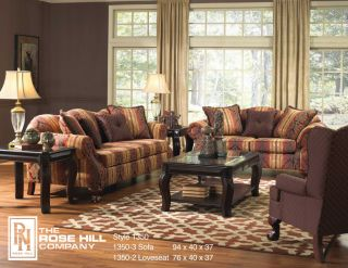 Hill Furniture 1350 2 Piece Sofa and Loveseat Living Room Set