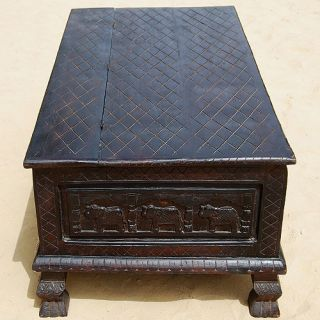 Wood Coffee Table Storage Chest Trunk Living Room Furniture