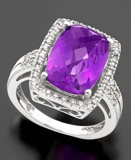 14k White Gold Ring, Amethyst (6 ct. t.w.) and Diamond (1/5 ct. t.w.)