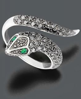 Effy Collection 14k White Gold Ring, Black and White Diamond Snake (3