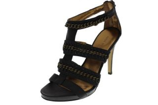 Nine West New Livy Black Leather Chain Embellished Strappy Heels