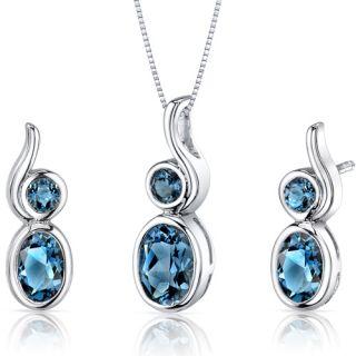 Shape Sterling Silver London Blue Topaz Pendant Earrings Set